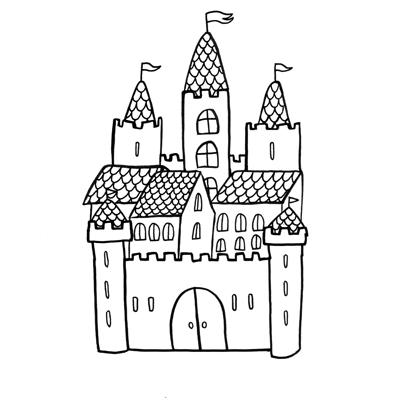 vignette coloriage château