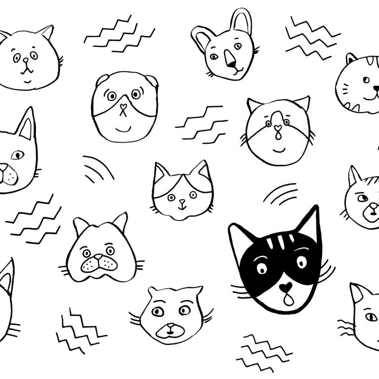 coloriage têtes de chat
