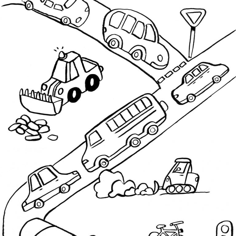 dessin de circulation automobile pour coloriage