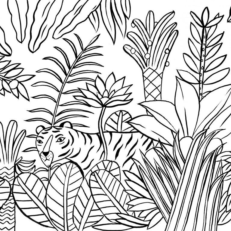 coloriage paysage de jungle avec un tigre