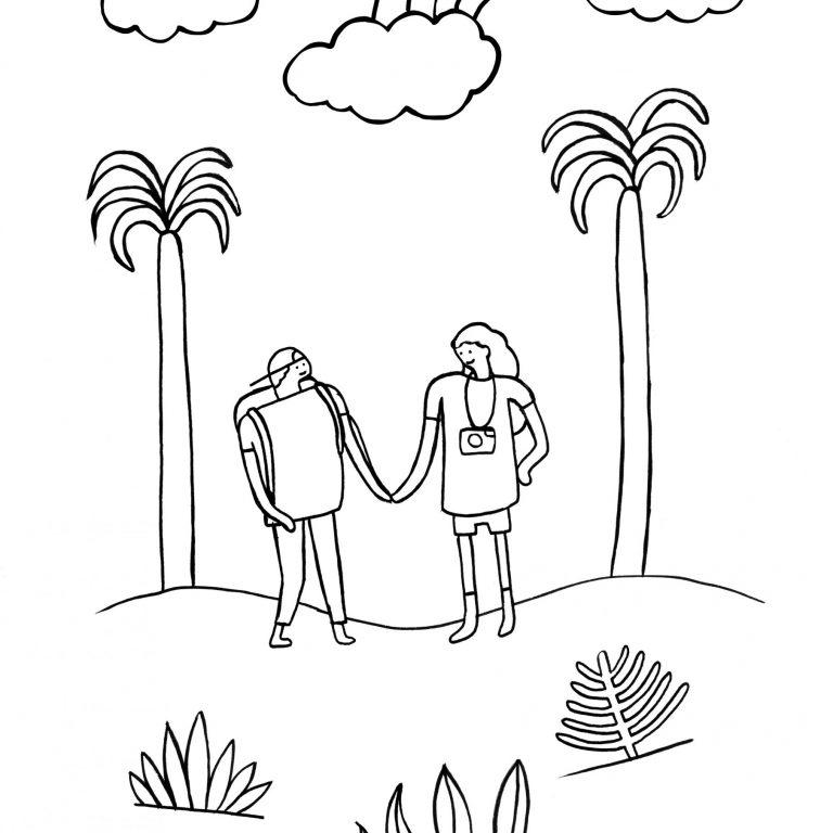 coloriage d'un paysage avec touristes et palmiers