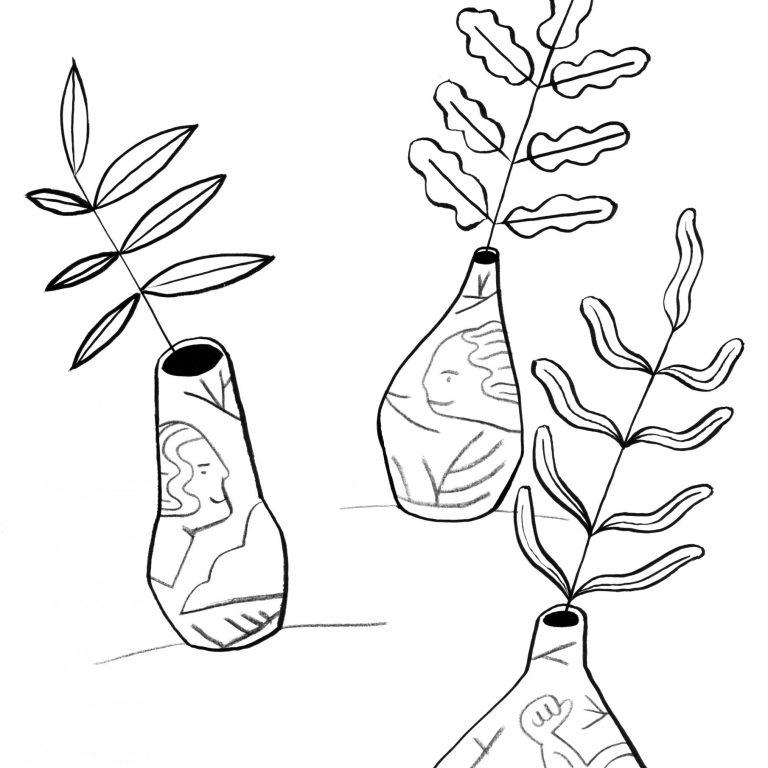 coloriage dessin de plantes dans des vases